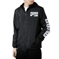 PUMA Graphic Full Zip Rain Jacket Black