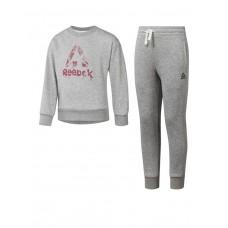 REEBOK Girls Training Essentials French Terry Tracksuit Grey