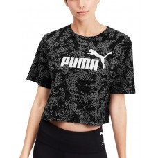 PUMA Elevated ESS Cropped Logo Aop Tee Black