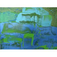 Воден свят – абстрактна картина в синьо,зелено, металик